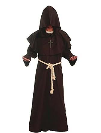 Friar Medieval 连帽僧侣复兴骄傲的长袍服装角色扮演 棕色 Small