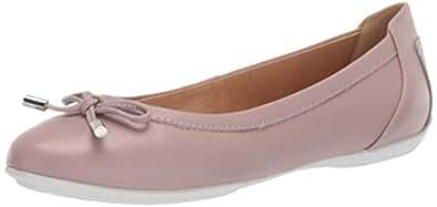 Geox 女士 Charlene 27 圆头芭蕾平底鞋 带蝴蝶结 深粉色 36 Medium EU (6 US)