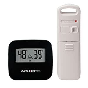 AcuRite 00782A2 无线室内/室外温度计 黑色 02097M