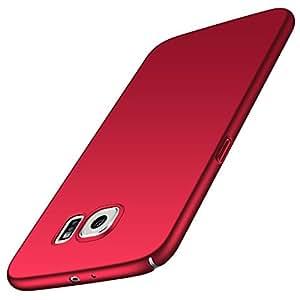 Anccer 三星 Galaxy S6 手机壳【超薄】【防污】【防摔】优质材料超薄*保护壳(不适用于 Galaxy S6 Edge)CF-HW-HONOR9 红色