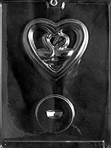 Cybrtrayd W014 Swans in Heart-Stands Up for Wedding Chocolate Candy Mold