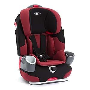 美国Graco 葛莱 鹦鹉螺安全座椅 倾斜角度3段可调 配有豪华置杯架 双侧加强保护垫 酱红色 9个月-12岁 8J58DMSN