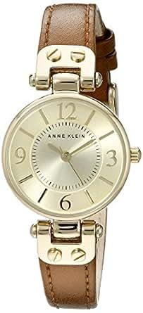 Anne Klein 安妮克莱因 109442CHHY 金色女式手表 香槟色表盘 棕色皮质表带