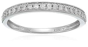 10K 白金圆形钻石结婚戒指(1/5克拉总重,颜色 I-J ,净度 I2-I3净度),尺码6 白色 6号