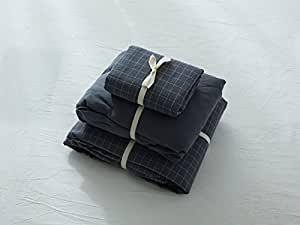 Jeanpop简璞 日式良品寝具 色织水洗棉床笠款四件套 柔软舒适 1.5米床适用(灰小格)
