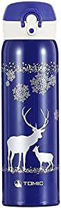 TOMIC 真空绝缘不锈钢旅行杯带翻开盖,双壁 Christmas Blue