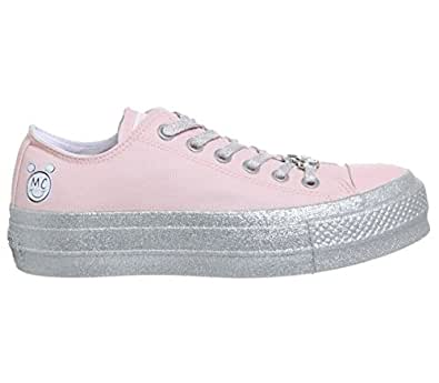Converse 女式 x Miley Cyrus Chuck Taylor All Star Lo 运动鞋 Pink Dogwood 白色 黑色 9573 Mens 3.5/Womens 5.5