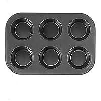 6 杯松饼平底锅,不粘重型碳钢布朗尼平底锅,金属专业小松饼罐完美效果,耐用标准迷你松饼盘快速释放(黑色)