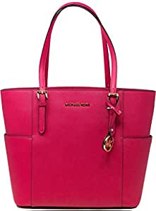 Michael Kors Women's Large Jet Set Travel Leather Top-Handle Bag Tote - Ultra Pink