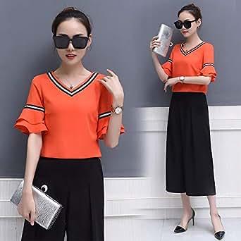 夏季新款女装韩版雪纺阔腿裤两件套职业时尚潮流套装 橘红色XL