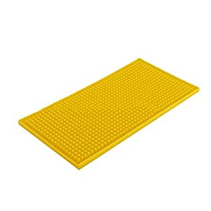 KTV Bar Pad PVC Long Dish Dying Mat Milk Tea,Water Insulation,Rectangular Drain Cup Drainer Mat 黄色 5.9 IN x 11.7 IN