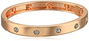 GUESS 窄铰链带水晶手镯 玫瑰金 均码