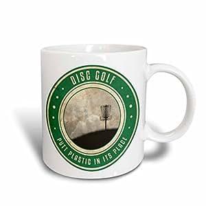 """3dRose mug_39409_2 英寸 Putt 塑料位于原地 #12 - 山地上的飞盘高尔夫篮轮廓""""""""陶瓷马克杯,425.24 毫升,多色"""