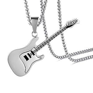 jenhianeck 嘻哈钛钢吉他标签吊坠项链,55.9cm  白色