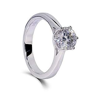 TransGems 镀铂金纯银卓越切割莫桑石戒指,1 克拉,H-I 颜色女款 H-I 6
