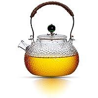 900 毫升玻璃茶壶带过滤线圈,茶壶用于散茶,炉台*,茶壶带铜手柄(*盖子)