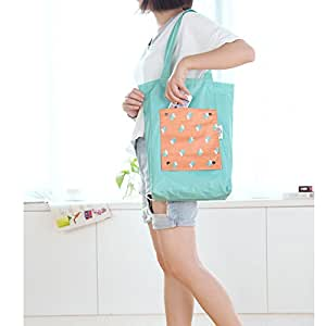 Naphele奈菲乐 便携折叠手提单肩包旅行收纳袋环保购物袋TB06 (蓝色)