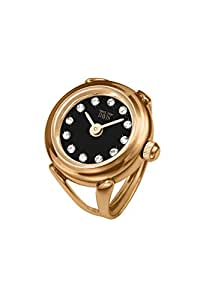 Davis 4160 - 女士手指戒指手表 玫瑰金黑色表盘施华洛世奇水晶莱茵石蓝宝石玻璃可调节