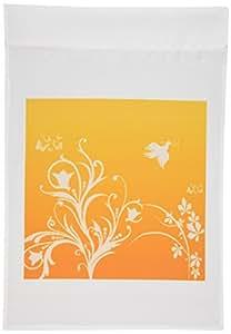 777images Designs 图案–花卉图案白色 ON A 橙色至南瓜背景与鸽子和蝴蝶 .–旗帜 12 x 18 inch Garden Flag
