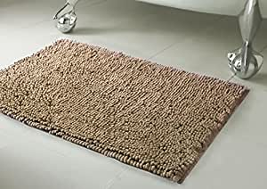 Resort Collection Chenille Plush Bath Mat, 21-inch by 34-inch Linen