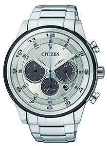 Citizen Watch 男式计时手表太阳能手表银色表盘模拟显示和银色不锈钢表链 CA4034-50A
