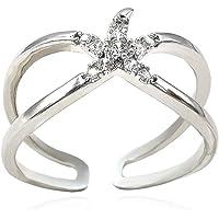 CZ 海星订婚戒指女式 14k 金/白金镀金可调式缠绕式开口戒指婚礼友谊周年爱戒指首饰永恒情侣情戒指 适合女士女孩