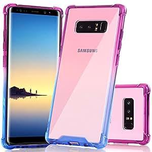 Galaxy Note 8 手机壳,BAISRKE 减震 TPU 软边防刮硬质超薄保护壳硬质塑料后盖适用于 Samsung Galaxy Note 8 (2017) Samsung Galaxy Note 8 (2017) 蓝色和紫色