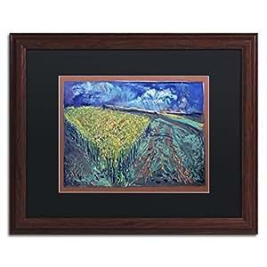 """Trademark Fine Art Mustard Field by Lowell S.V. Devin Wood Frame, 16"""" x 20"""", Black Matte"""