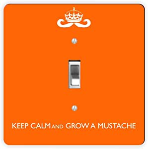 Rikki Knight Keep Calm and Grow a Mustache Orange Color-Single Toggle Light Switch Plate