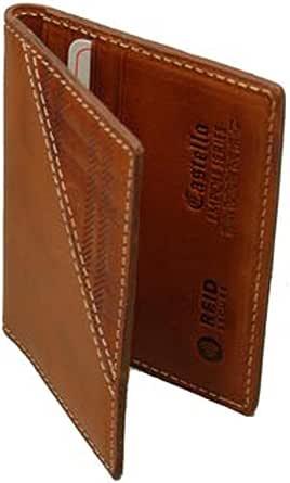 Castello 优质意大利 Vacchetta 皮革前口袋钱包 w/RFID 芯片*性