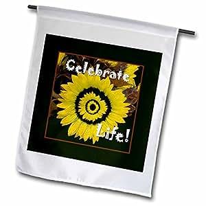 jaclinart 鼓励花朵花卉–亮金色向日葵 celebrate LIFE ,黑色框架–旗帜 12 x 18 inch Garden Flag