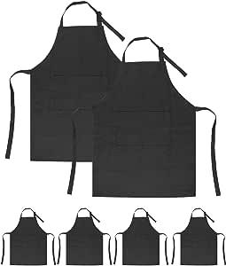 SINLAND 儿童围裙带口袋2件装儿童厨师围裙适用于烹饪烘焙绘 Blackx6 中