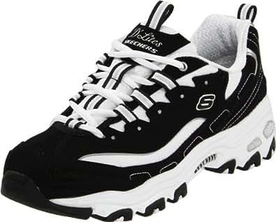 Skechers 斯凯奇 D'Lites 女士系带运动鞋 黑色/白色 5 M US