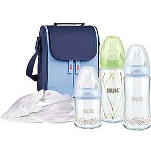 德国 NUK 宽口 玻璃 奶瓶 妈咪包套装礼盒(颜色随机)