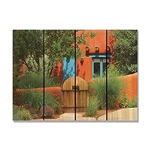 Gizaun Art La Casa Inside/Outside Wall Art, Full Color on Cedar 红色 22-1/2-Inch by 16-Inch