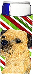 Border Terrier Candy Cane Holiday Christmas Michelob Ultra Koozies for slim cans LH9233MUK 多色 Slim