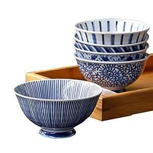 【精致实用高颜值】 日本进口美浓烧家用陶瓷餐具饭碗组合套装 釉下彩工艺青花瓷系列餐具米饭碗 汤面碗 时尚混搭创意餐具5件礼盒套装 (五件礼盒套装草花)
