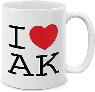 MUGBREW I Love AK 阿拉斯加陶瓷咖啡杯茶杯,325ml I Love AK Alaska SBMUG0002-A5381