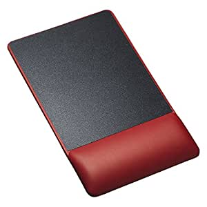 SANWA SUPPLY 山业 人体工学腕托鼠标垫 顺滑操作 底部防滑 皮革质感 柔润凝胶填充 普通高版 红色 MPD-GELPNR(亚马逊自营商品, 由供应商配送)