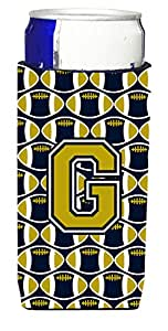 Caroline's Treasures CJ1074-GMUK Letter G Football Blue and Gold Michelob Ultra Koozie for slim Cans, Multicolor