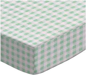 SheetWorld 婴儿床床单套装 - 淡绿色条纹梭织 - 美国制造