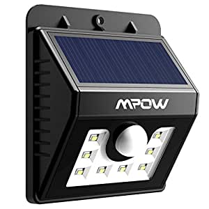 Mpow Super Bright 8 LED Solar Powered Wireless Security Motion Sensor Light with Three Intelligent Modes,Weatherproof,Wireless Exterior Security Lighting