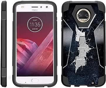 TurtleArmor ? 兼容摩托罗拉 Moto Z2 Force Case - Moto Z2 Play Case [Dynamic Shell] 混合双层硬壳支架硅胶手机壳 - Bat Signal