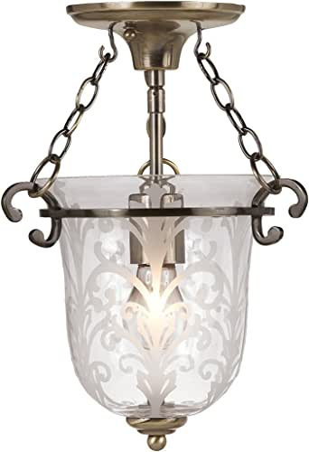 Crystorama Lighting 5760-AB Camden Bell Jar Semi Flush Ceiling