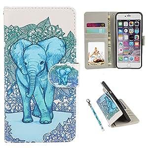 "iPhone 6S 手机壳 iPhone 6手机壳 urspeedteklive 高级 PU 皮革趣味图案翻盖钱包手机壳手机套带卡槽 & 支架 iphone 6/ 6S 11.9cm_Elephant2 For Apple iPhone 6/6S 4.7"""
