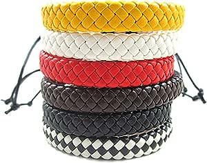 aishemi 6件套皮革袖口男式手链女式手镯手镯