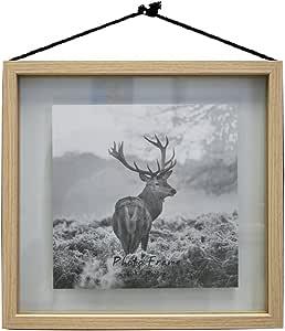 """浮动相框 - 由 1 张或更多照片制成,天然木色框架带黑绳 天然 8"""" x 8"""" HP-WL0208-88"""