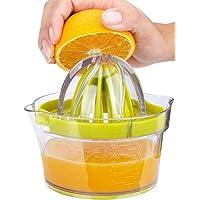 *柠檬手动挤压器 - 柑橘橙榨汁机手动挤压器,内置量杯和提取鸡蛋分离器姜碎片,防滑盖旋转铰刀柠檬压榨机,12 盎司