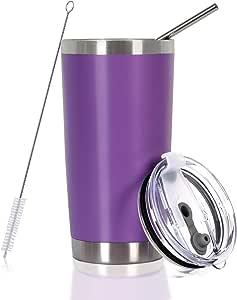 不锈钢杯带吸管、盖和刷子,旅行咖啡杯男女皆宜 紫色 20 OZ