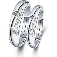TzrNhm 花朵情侣配套戒指 定情戒指 女友 生日礼物 结婚戒指 周年纪念戒指 婚礼 新娘首饰